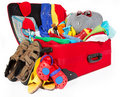 Family travel red suitcase packed for vacation Royalty Free Stock Photo