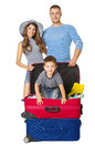 Family Travel Suitcase, People and Vacation Luggage, Child Bag Royalty Free Stock Photo