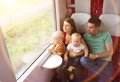 Family travel in train Royalty Free Stock Photo