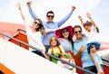 Family traveling by airplane Stock Photo