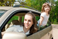 Family traveling by car Royalty Free Stock Images
