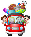 Family traveling in a car Royalty Free Stock Photo