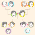 Family tree doodle style happy family four generations useful as icon illustration background family theme Royalty Free Stock Photo