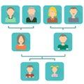Family tree, flat icons.
