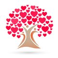 Family tree logo, family, parent, kids, red heart, love, parenting, care, symbol icon design vector Royalty Free Stock Photo