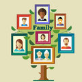 Family tree relationships and traditions portraits of peoples in frames mother father child grandmother grandfather vector flat Stock Image