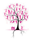 Family tree, relatives, people silhouettes Royalty Free Stock Images