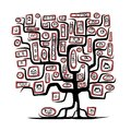 Family tree sketch with people portraits for your design this is file of eps format Royalty Free Stock Images