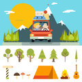 Family Trip Road Car Concept Flat Design Icon Royalty Free Stock Photo
