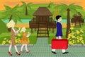 Family trip on a tropical island