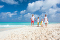 Family on a tropical beach vacation happy beautiful caribbean holiday Royalty Free Stock Images
