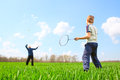 Family - two little boys playing badminton Royalty Free Stock Photo