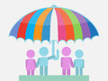 Family umbrella sheltering from storm illustration a father is holding an the storms Royalty Free Stock Image