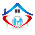 Family union and love in heart shape logo