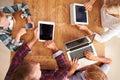 Family Using New Technology, O...