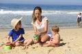 Rodina dovolenka na pláž matka a