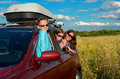 Family vacation car trip on summer happy mother travel with kids and having fun insurance concept Stock Photography