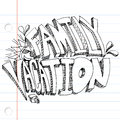 Family vacation drawing an image of a message on notebook paper Stock Image