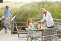 Family on vacation eating outdoors Royalty Free Stock Photos