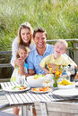 Family on vacation eating outdoors Royalty Free Stock Images