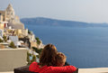 Family on vacation in greece happy mother and child santorini Stock Image
