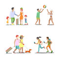 Family vacation set going have fun holidays illustration. Royalty Free Stock Photo