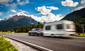 Family vacation travel, holiday trip in motorhome Royalty Free Stock Photo