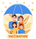 Family vaccination concept vector. Time to vaccinate for adult and children for protection against virus, flu, measles. Big Royalty Free Stock Photo
