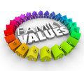 Family values d words homes houses circle ethics morals word in letters surrounded by a of colorful or in a community neighborhood Royalty Free Stock Photography