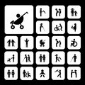 Family vector icon set happy Stock Photos