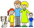 Family vector illustration of a consisting of father mother daughter son and dog Royalty Free Stock Photography