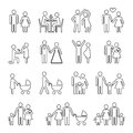 Family vector thin line icons set in black and white Royalty Free Stock Photo