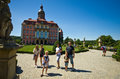Family visiting ksiaz castle poland a group of tourists a famous touristic attraction in near walbrzych city Stock Images