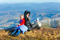 Family walk on autumn mountain plateau Royalty Free Stock Photo