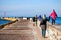 Family walk on Darlowo pier Royalty Free Stock Photo