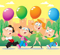 Family walk the illustration shows the for a in the park parents walking with children hands they hold balloons illustration done Royalty Free Stock Photo
