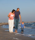 Family walking sea image has attached release Royalty Free Stock Images