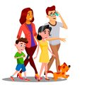 Family Walking, Spending Time Together Outdoor Vector. Isolated Illustration