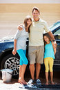 Family washing car Royalty Free Stock Photography