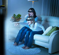 Family watching 3D TV Royalty Free Stock Photography