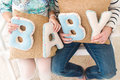 Family wife banner baby on hand Stock Images
