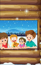 A family at the window illustration of Stock Images