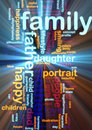 Family word cloud glowing Stock Photos