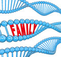 Family word dna strand biology hereditary traits in a d of to illustrate or attributes passed from one generation to another Stock Photos