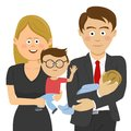 Family and work life: business man and woman holding their children