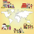 Family world illustration of different around the Royalty Free Stock Photo
