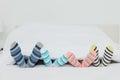 Familys feet in stripey socks Royalty Free Stock Photo