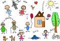 Família feliz, desenho das crianças, vetor Fotos de Stock Royalty Free