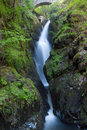 Famous Aira Force waterfall  in Lake District Royalty Free Stock Photo
