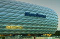 The famous allianz arena stadium at night blue lit at dusk Royalty Free Stock Photos